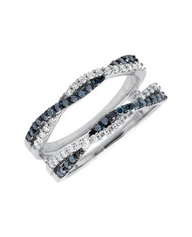 14K White Gold Twisted Enhancer Wrap Guard Blue and White Diamond Ring (0.55ct.)