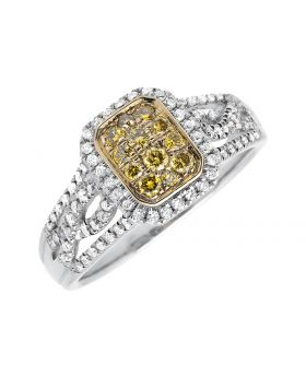 18K White Gold Rectangular Frame Canary and White Diamond Engagement Ring (0.65ct.)