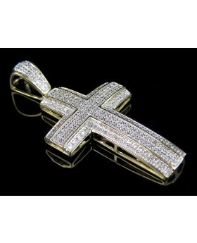 10K Yellow Gold 3D 2 Layer Diamond Cross Charm Pendant 1.2ct