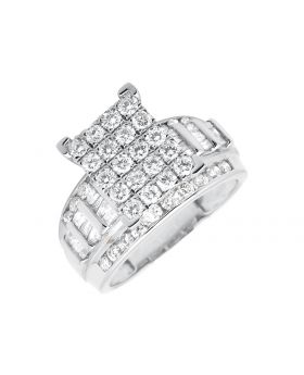 10K White Gold Round and Baguette Engagement Wedding Diamond Ring (2.0ct)