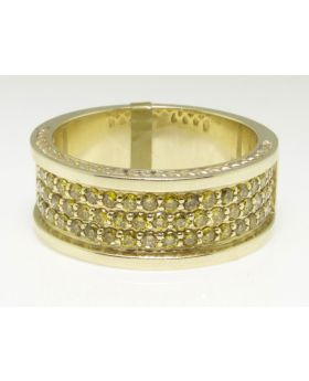 Pave Canary Diamond Ring in 10K Yellow Gold  (1.50 Ct)