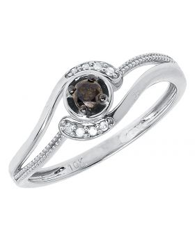 Interlocking Engagement Ring with Brown Diamond Solitaire (0.15 ct)