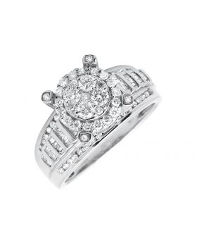 10K White Gold Halo Round and Baguette Diamond Engagement Wedding Ring (1.0ct)
