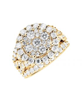 10K Yellow Gold Halo Flower Diamond Engagement Wedding Ring (4.0ct)