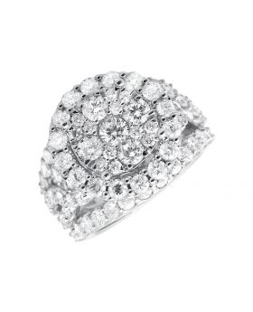 10K White Gold Halo Flower Diamond Engagement Wedding Ring (4.0ct)
