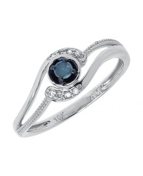 Interlocking Engagement Ring with Blue Diamond Solitaire (0.15 ct)