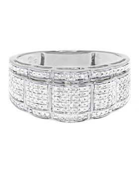 Mens Round Pave Diamond 10mm Wavy Wedding Fashion Band Ring in White Gold (1.0 ct)