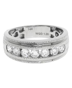 Mens 8mm Channel Set Band in White Gold (1.0 ct)