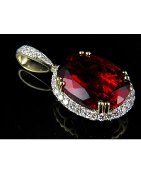 10K Yellow Gold Royal Ruby Diamond Pendant 1.50ct