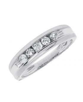 5.5mm Round Diamond Mens Band in Silver (0.50 ct)
