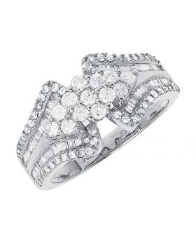 10k White Gold Round Diamond Cluster Engagement Ring (1.0 ct)