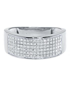 Men's 6 Row Pave Diamond Band Ring in 10k White Gold 9MM (0.60ct)