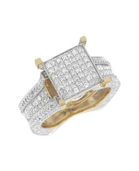 10k Yellow Gold Square Dome Clear Diamonds 1.75ct Ladies Engagemnet Ring