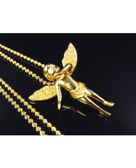 Genuine Canary Diamond Angel Pendant & Chain In Yellow Gold Finish (.50 Ct)