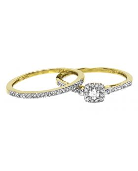 10k Yellow Gold Round Diamond Halo Solitaire Bridal Ring Set (0.26 ct)