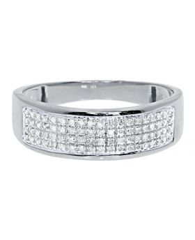 Men's 4 Row Pave Diamond Band Ring in 10k White Gold 7MM (0.25ct)