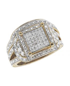 10k Yellow Gold Round Pave Set Diamonds Carved Contour Ring Band(.75ct)