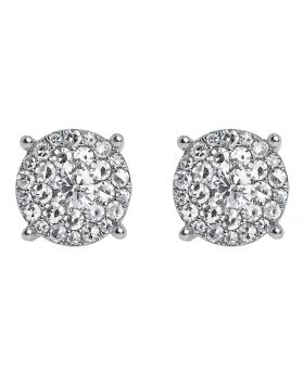 14k White Gold Round Diamond Solitaire Look Earrings 9mm (1.40 ct)