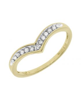 Womens Chevron Engagement Ring Enhancer Band in Yellow Gold (0.10 ct)