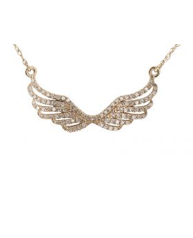 10k Rose Gold Pave Diamond Angel Wing Necklace (0.25 ct)