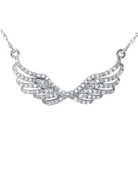 14k White Gold Pave Diamond Angel Wing Necklace (0.25 ct)