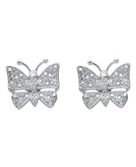 14mm White Gold Finish Butterfly Studs Earrings Pave Diamond .25 CT