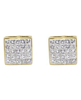 7mm Princess Invisible Diamond Earrings in Yellow Gold (1.0 ct)