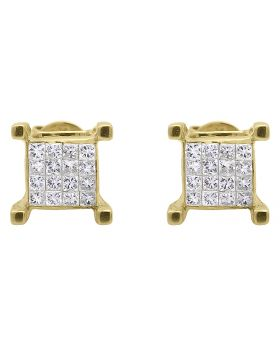 4 Prong Earrings with Princess Diamonds 7mm (0.50 ct)
