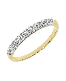 10k Yellow Gold Pave Diamond Domed Band (0.25 ct)