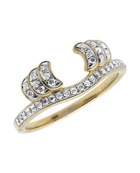 14k Yellow Gold U Shape White Round Layered Diamond Ring Wrap Enhancer .25ct