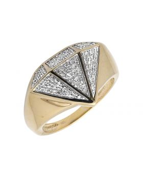 Yellow Gold Finish Diamond Shape Real Diamond Pinky Ring (0.40ct.)