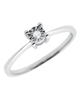 .925 Sterling Silver Ladies Solitaire Engagement Ring White Gold Finish .04ct