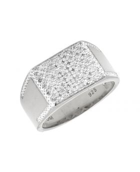 White Gold Finish Rectangle Top Wide Diamond Pinky Ring 0.30ct.
