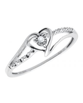 .925 Sterling Silver Ladies Heart Shape Solitaire Bezel Engagement Ring .02 ct