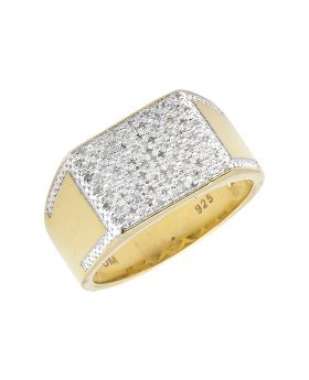 Yellow Gold Finished Rectangle Top Wide Diamond Pinky Ring (0.30ct.)
