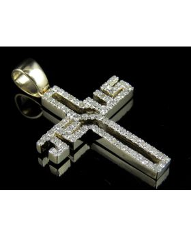 10k Yellow Gold Jesus Cross Real Diamond Charm Pendant 0.60 ct