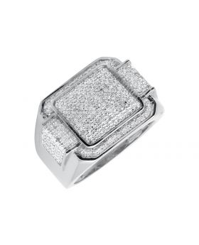 White Gold Finished Rectangle Step Style Wide Diamond Pinky Ring (0.30ct.)