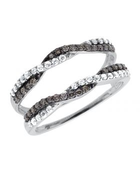 10k White Gold Bridal Ring Wrap Enhancer Twisted In Black & White Diamonds .52ct