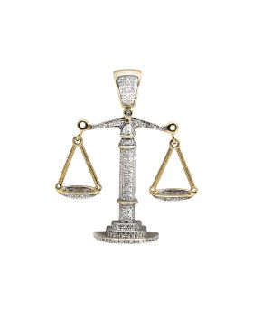 10K Yellow Gold Libra Weighing Scale 1.5 Inch Diamond Pendant Charm (0.55ct.)