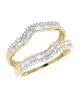 Ladies Baguette Round 2 Layered Crown Diamond 14k Yellow Gold Ring Guard Enhancer .46ct