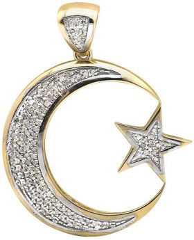 10K Yellow Gold Crescent Moon Star Diamond Pendant Charm (0.50ct.)