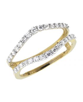 Ladies Classic Double Contour Band Style Pronged Diamonds Ring Warp Enhancer .47ct