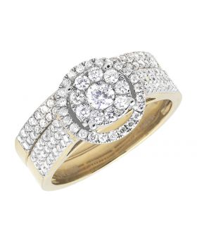 Flower Cluster Bridal 3 Row Diamond Engagement Ring Set In 14k Yellow Gold 1ct
