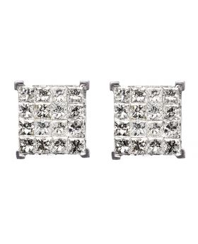 Princess Cut Earrings in White Gold (2.0ct)