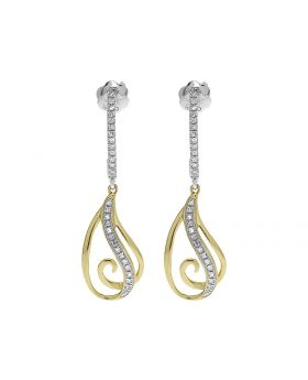 14k Gold Two Tone Diamond Dangle Earrings (0.15 ct)