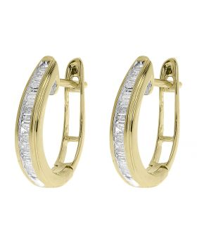 Oval Baguette Diamond Hoop Earrings in 10k Yellow Gold (0.25ct)