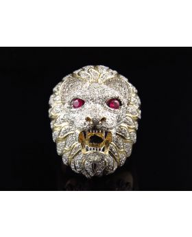 10K Yellow Gold 3D Lion Face Diamond Pinky Ring (2.25ct.)