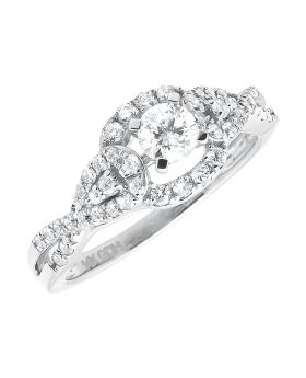 Dazzling Solitaire Ladies Infinity 14k White Gold Diamond Engagement Ring .77ct