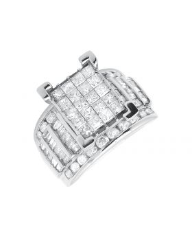 10k White Gold Ladies Princess Cut Invisible Cluster Engagement Wedding Ring 3ct