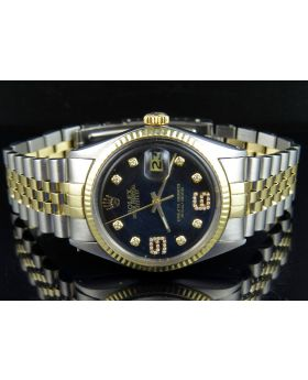 Rolex Datejust 18K Two Tone Stainless Steel Fluted Bezel Black Dial Diamond Watch